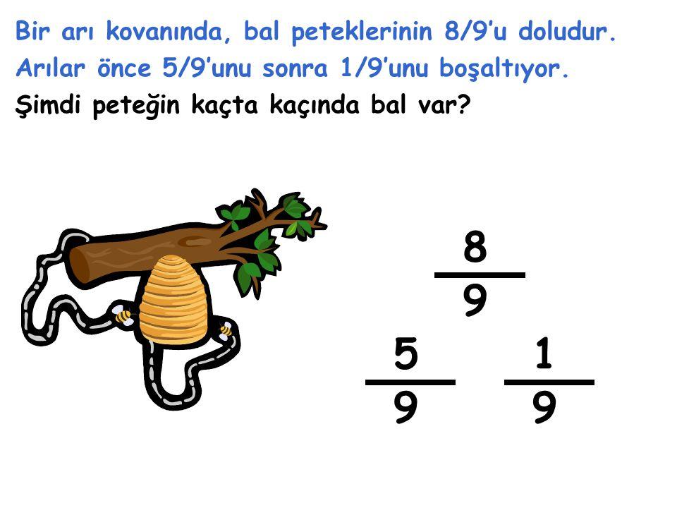 1 6 Ekrandaki şekillere ait kesirleri yazıp, çıkarma işlemini yapalım. - 8 12 = 6 2 -=