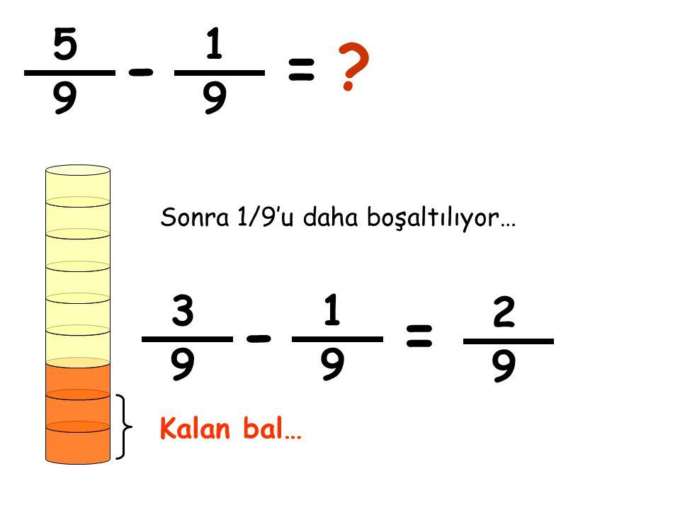 5 9 1 9 -=? Sonra 1/9'u daha boşaltılıyor… 3 9 1 9 -= 2 9 Kalan bal…