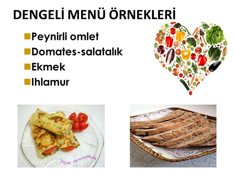 DENGELİ MENÜ ÖRNEKLERİ Süt Haşlanmış yumurta Domates-salatalık Ekmek