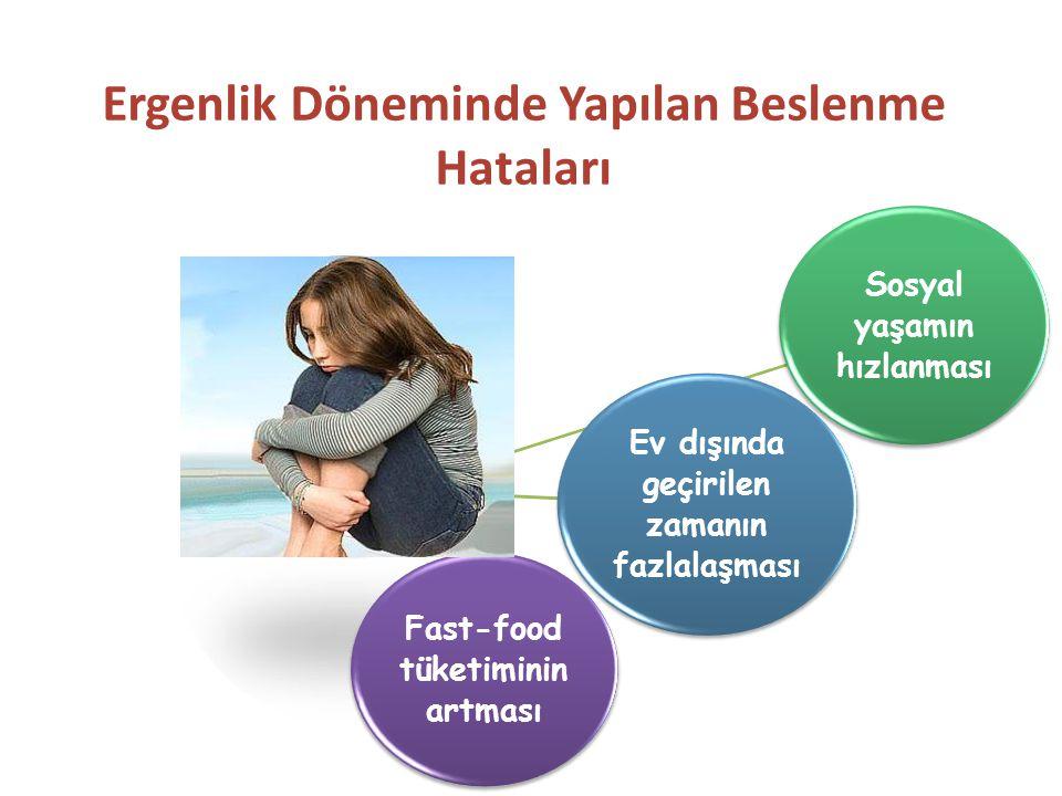 Sosyal yaşamın hızlanması Ev dışında geçirilen zamanın fazlalaşması Fast-food tüketiminin artması Ergenlik Döneminde Yapılan Beslenme Hataları