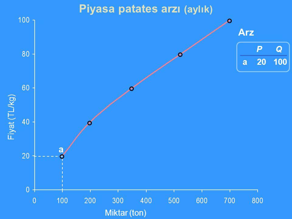 Fiyat (TL/kg) Miktar (ton) Arz a P 20 Q 100 a Piyasa patates arzı (aylık)