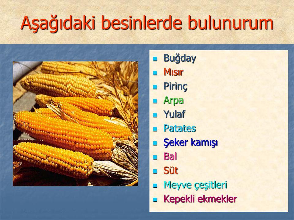 Aşağıdaki besinlerde bulunurum Buğday Buğday Mısır Mısır Pirinç Pirinç Arpa Arpa Yulaf Yulaf Patates Patates Şeker kamışı Şeker kamışı Bal Bal Süt Süt