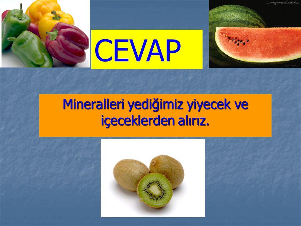 Mineralleri yediğimiz yiyecek ve içeceklerden alırız. CEVAP