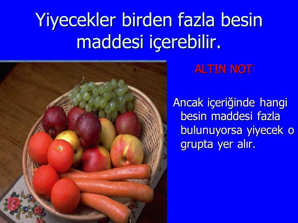 Yiyecekler birden fazla besin maddesi içerebilir. ALTIN NOT ALTIN NOT Ancak içeriğinde hangi besin maddesi fazla bulunuyorsa yiyecek o grupta yer alır