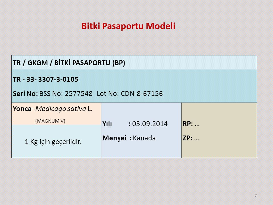 Bitki Pasaportu Modeli 7 TR / GKGM / BİTKİ PASAPORTU (BP) TR - 33- 3307-3-0105 Seri No: BSS No: 2577548 Lot No: CDN-8-67156 Yonca- Medicago sativa L.