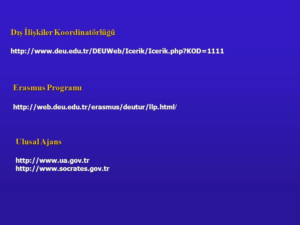 Erasmus Programı http://web.deu.edu.tr/erasmus/deutur/llp.html / Dış İlişkiler Koordinatörlüğü http://www.deu.edu.tr/DEUWeb/Icerik/Icerik.php KOD=1111 Ulusal Ajans http://www.ua.gov.tr http://www.socrates.gov.tr