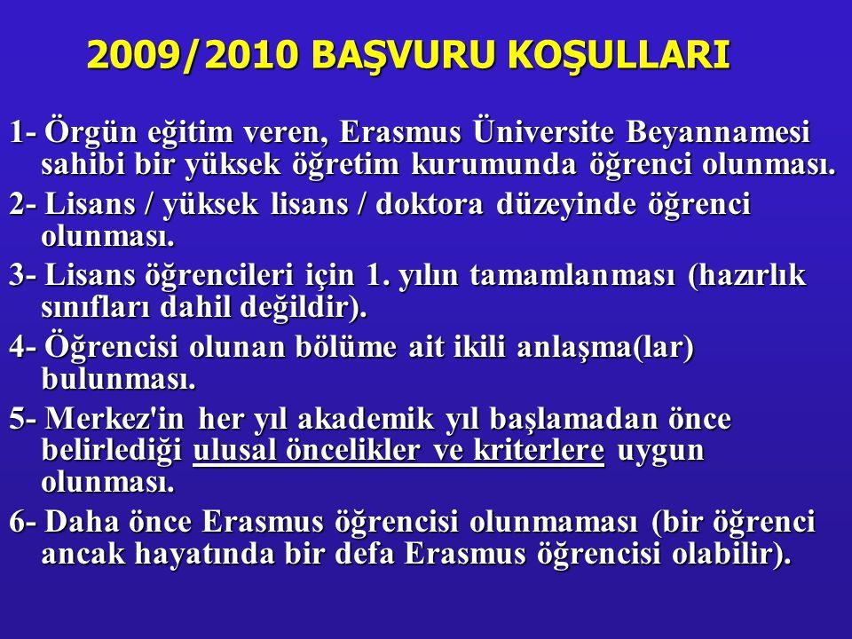 Erasmus öğrencisi olabilmek için önşartlar: Lisans öğrencileri için2.00/4.00 veya 70/100 Lisans öğrencileri için 2.00/4.00 veya 70/100 Lisansüstü öğrencileri için 2.50/4.00 veya 75/100 Lisansüstü öğrencileri için 2.50/4.00 veya 75/100 Yabancı dil sınavı: Nisan 2009 Yabancı dil sınavı: Nisan 2009 Öğrencinin alttan dersinin olması veya disiplin cezası almış olması başvuruya engel değildir.