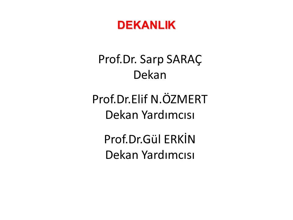DEKANLIK Prof.Dr. Sarp SARAÇ Dekan Prof.Dr.Elif N.ÖZMERT Dekan Yardımcısı Prof.Dr.Gül ERKİN Dekan Yardımcısı