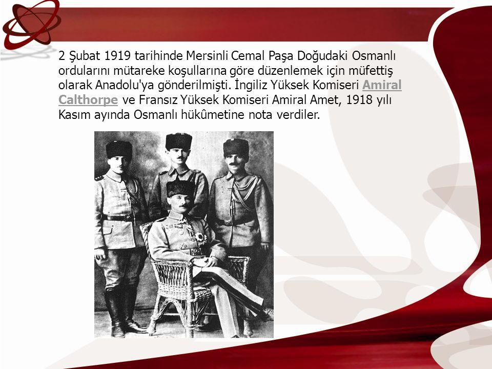 2 Şubat 1919 tarihinde Mersinli Cemal Paşa Doğudaki Osmanlı ordularını mütareke koşullarına göre düzenlemek için müfettiş olarak Anadolu'ya gönderilmi