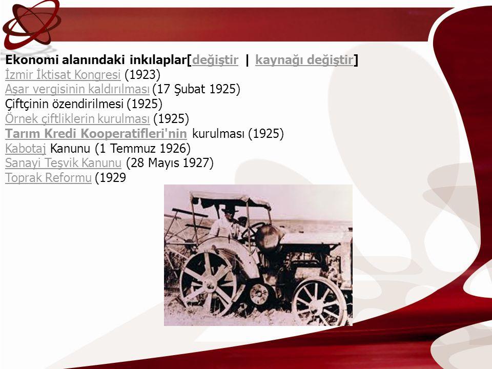 Ekonomi alanındaki inkılaplar[değiştir | kaynağı değiştir] İzmir İktisat Kongresi (1923) Aşar vergisinin kaldırılması (17 Şubat 1925) Çiftçinin özendi