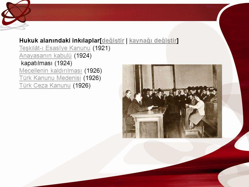Hukuk alanındaki inkılaplar[değiştir | kaynağı değiştir] Teşkilât-ı Esasîye Kanunu (1921) Anayasanın kabulü (1924) kapatılması (1924) Mecellenin kaldı
