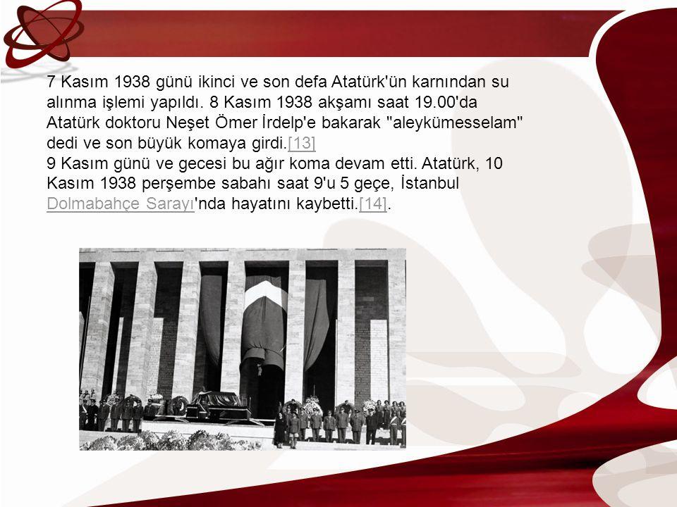 7 Kasım 1938 günü ikinci ve son defa Atatürk'ün karnından su alınma işlemi yapıldı. 8 Kasım 1938 akşamı saat 19.00'da Atatürk doktoru Neşet Ömer İrdel