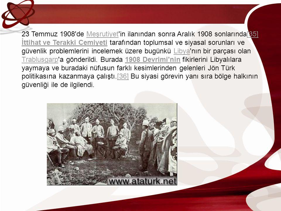 23 Temmuz 1908'de Meşrutiyet'in ilanından sonra Aralık 1908 sonlarında[35] İttihat ve Terakki Cemiyeti tarafından toplumsal ve siyasal sorunları ve gü