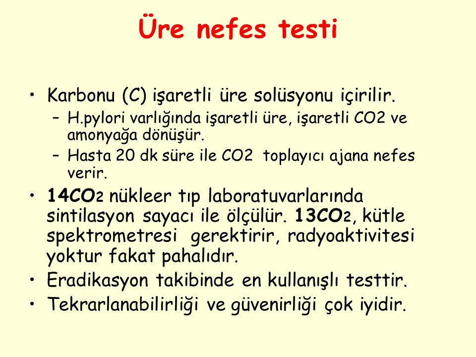 Üre nefes testi Karbonu (C) işaretli üre solüsyonu içirilir. –H.pylori varlığında işaretli üre, işaretli CO2 ve amonyağa dönüşür. –Hasta 20 dk süre il