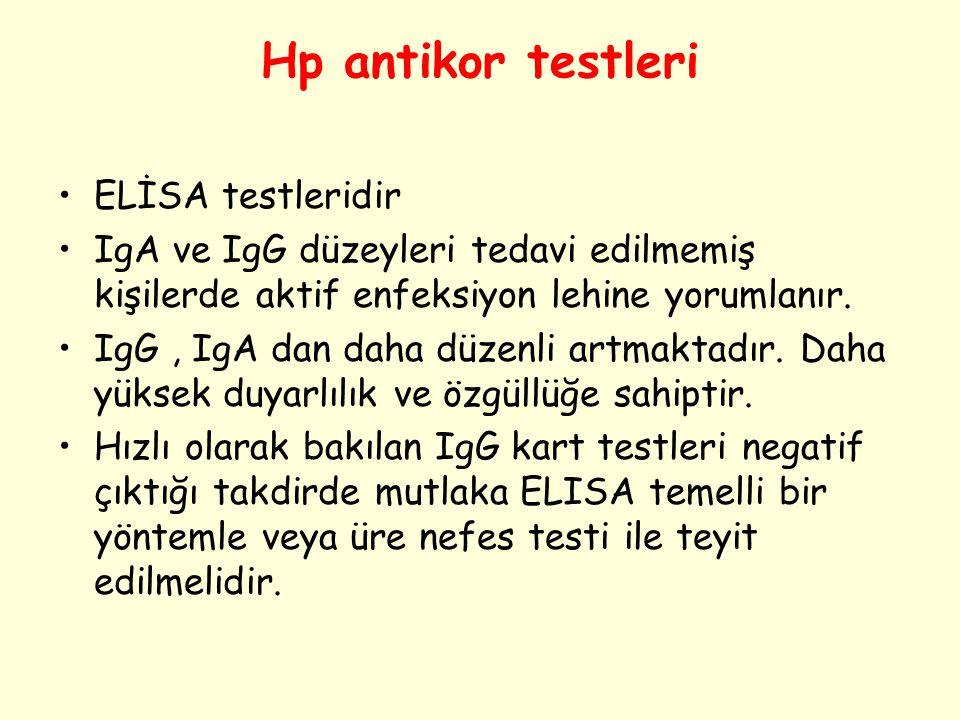 Hp antikor testleri ELİSA testleridir IgA ve IgG düzeyleri tedavi edilmemiş kişilerde aktif enfeksiyon lehine yorumlanır. IgG, IgA dan daha düzenli ar