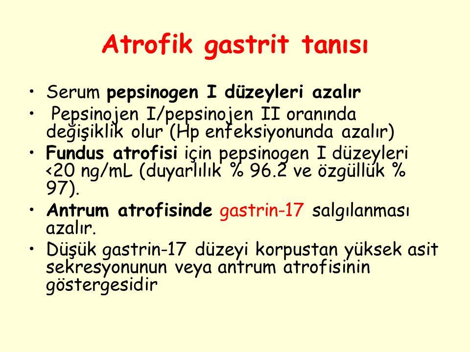 Atrofik gastrit tanısı Serum pepsinogen I düzeyleri azalır Pepsinojen I/pepsinojen II oranında değişiklik olur (Hp enfeksiyonunda azalır) Fundus atrof