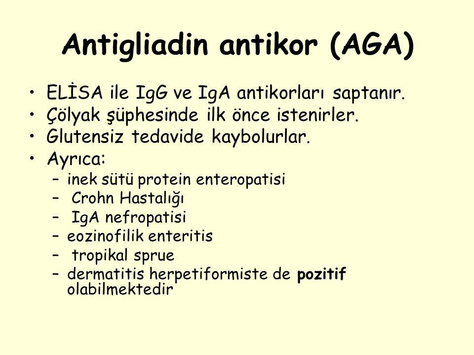 Antigliadin antikor (AGA) ELİSA ile IgG ve IgA antikorları saptanır. Çölyak şüphesinde ilk önce istenirler. Glutensiz tedavide kaybolurlar. Ayrıca: –i