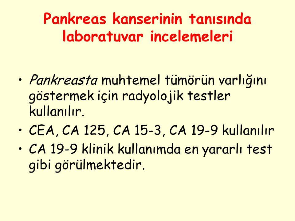 Pankreas kanserinin tanısında laboratuvar incelemeleri Pankreasta muhtemel tümörün varlığını göstermek için radyolojik testler kullanılır. CEA, CA 125