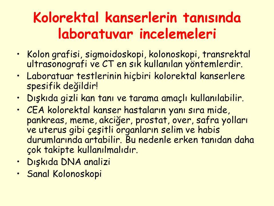 Kolorektal kanserlerin tanısında laboratuvar incelemeleri Kolon grafisi, sigmoidoskopi, kolonoskopi, transrektal ultrasonografi ve CT en sık kullanıla