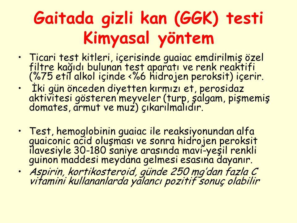 Gaitada gizli kan (GGK) testi Kimyasal yöntem Ticari test kitleri, içerisinde guaiac emdirilmiş özel filtre kağıdı bulunan test aparatı ve renk reakti
