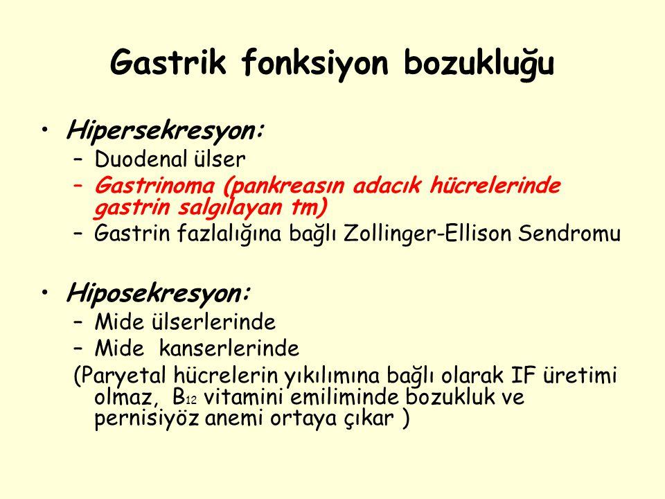 Gastrik fonksiyon bozukluğu Hipersekresyon: –Duodenal ülser –Gastrinoma (pankreasın adacık hücrelerinde gastrin salgılayan tm) –Gastrin fazlalığına ba