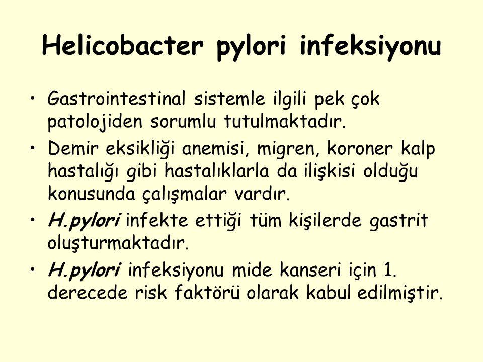 Helicobacter pylori infeksiyonu Gastrointestinal sistemle ilgili pek çok patolojiden sorumlu tutulmaktadır. Demir eksikliği anemisi, migren, koroner k
