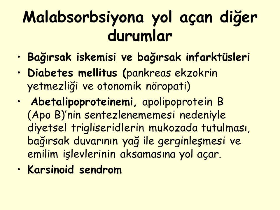 Malabsorbsiyona yol açan diğer durumlar Bağırsak iskemisi ve bağırsak infarktüsleri Diabetes mellitus (pankreas ekzokrin yetmezliği ve otonomik nöropa