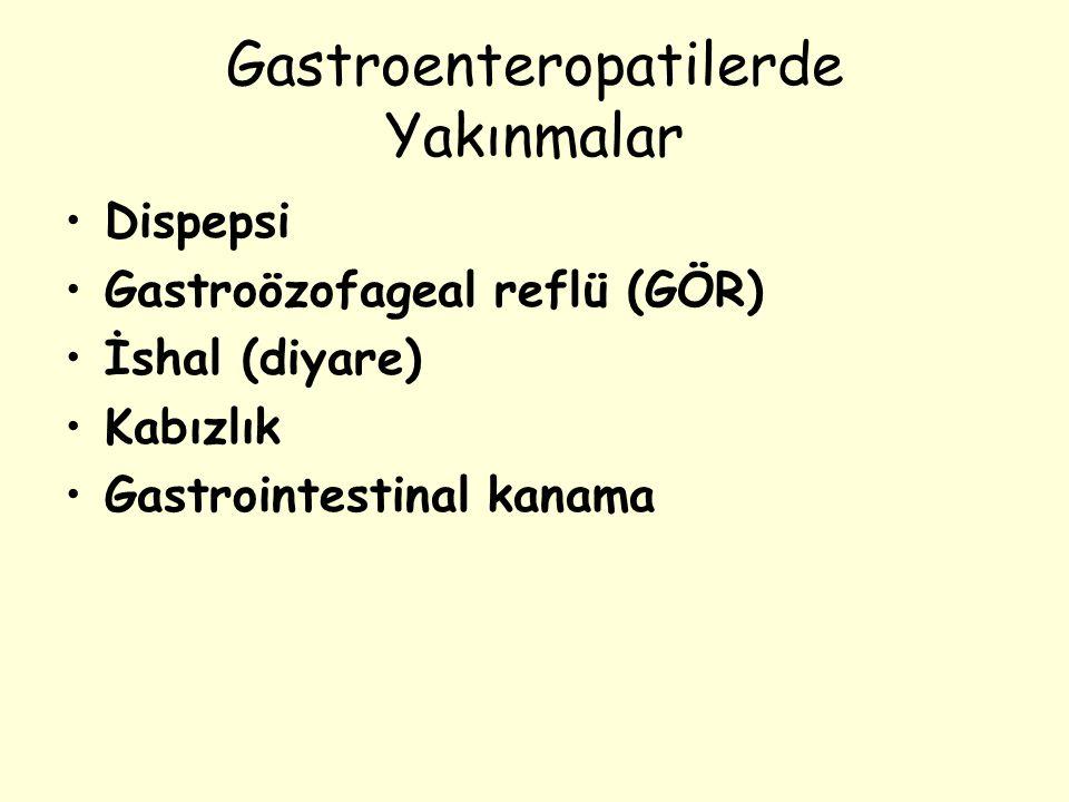 Gastroenteropatilerde Yakınmalar Dispepsi Gastroözofageal reflü (GÖR) İshal (diyare) Kabızlık Gastrointestinal kanama