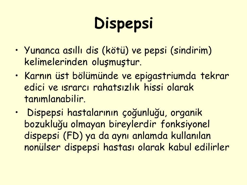 Dispepsi Yunanca asıllı dis (kötü) ve pepsi (sindirim) kelimelerinden oluşmuştur. Karnın üst bölümünde ve epigastriumda tekrar edici ve ısrarcı rahats
