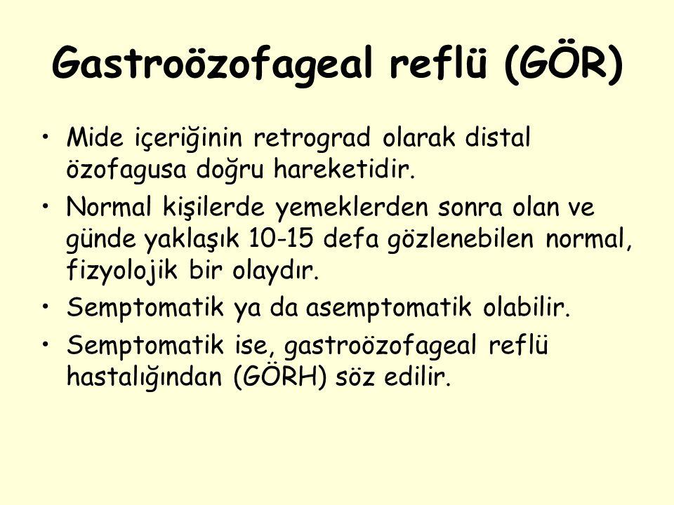 Gastroözofageal reflü (GÖR) Mide içeriğinin retrograd olarak distal özofagusa doğru hareketidir. Normal kişilerde yemeklerden sonra olan ve günde yakl