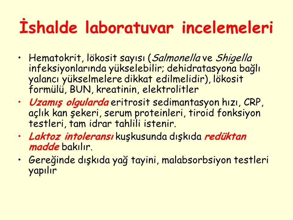 İshalde laboratuvar incelemeleri Hematokrit, lökosit sayısı (Salmonella ve Shigella infeksiyonlarında yükselebilir; dehidratasyona bağlı yalancı yükse