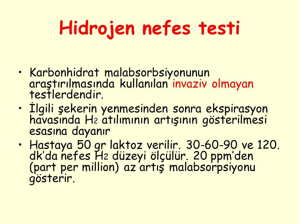 Hidrojen nefes testi Karbonhidrat malabsorbsiyonunun araştırılmasında kullanılan invaziv olmayan testlerdendir. İlgili şekerin yenmesinden sonra ekspi