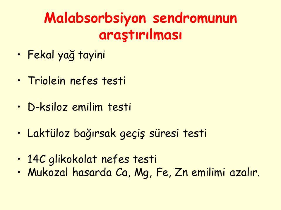 Malabsorbsiyon sendromunun araştırılması Fekal yağ tayini Triolein nefes testi D-ksiloz emilim testi Laktüloz bağırsak geçiş süresi testi 14C glikokol