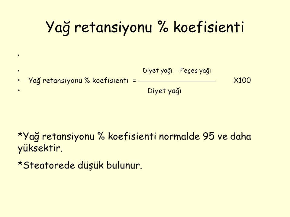 Yağ retansiyonu % koefisienti Diyet yağı  Feçes yağı Yağ retansiyonu % koefisienti = X100 Diyet yağı *Yağ retansiyonu % koefisienti normalde 95 ve da