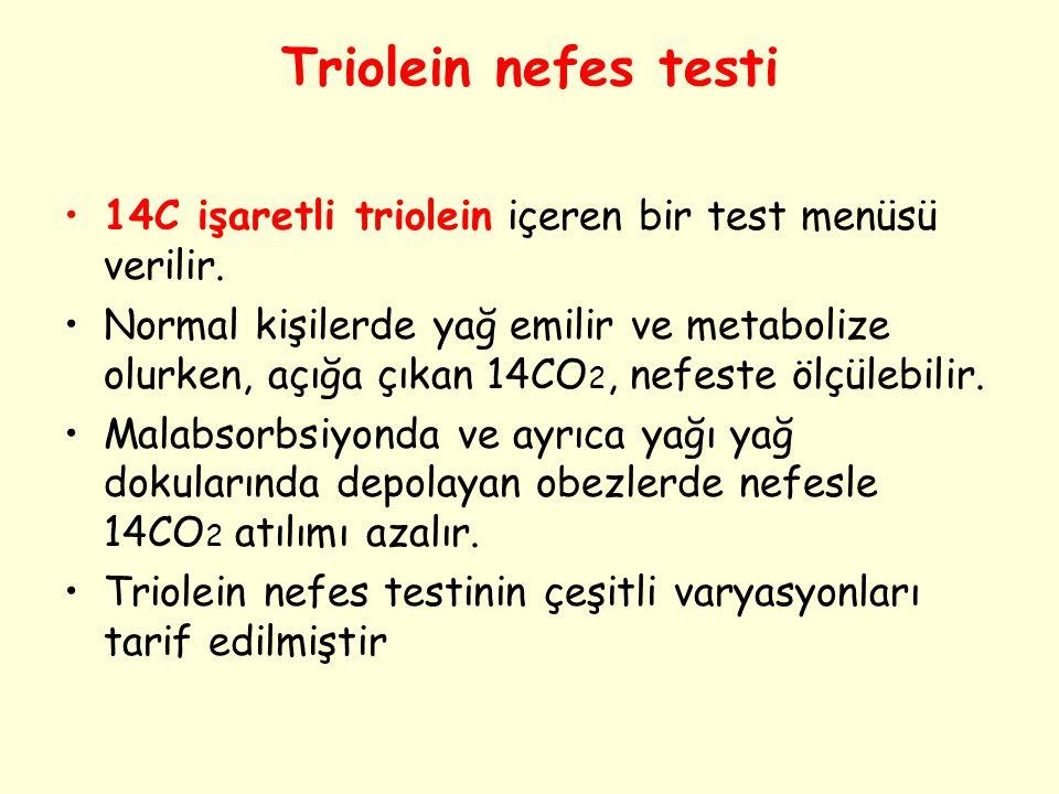 Triolein nefes testi 14C işaretli triolein içeren bir test menüsü verilir. Normal kişilerde yağ emilir ve metabolize olurken, açığa çıkan 14CO 2, nefe
