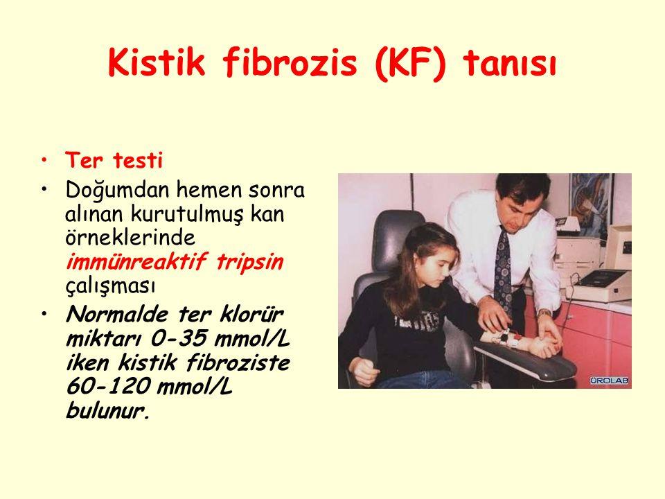 Kistik fibrozis (KF) tanısı Ter testi Doğumdan hemen sonra alınan kurutulmuş kan örneklerinde immünreaktif tripsin çalışması Normalde ter klorür mikta