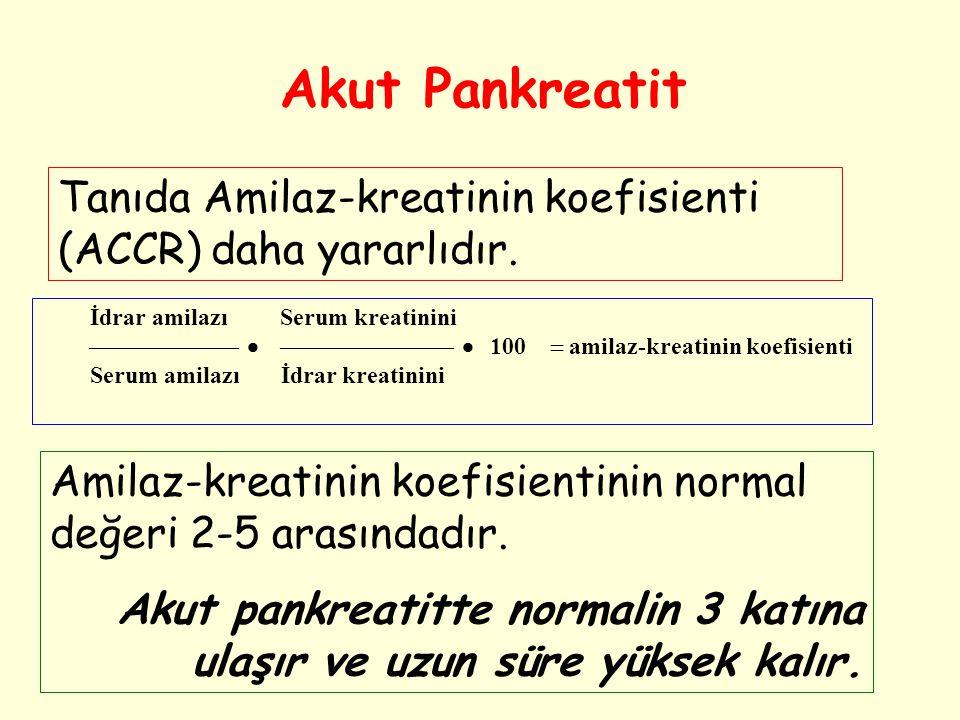 Tanıda Amilaz-kreatinin koefisienti (ACCR) daha yararlıdır. İdrar amilazı Serum kreatinini     100  amilaz-kreatinin koefisienti Serum