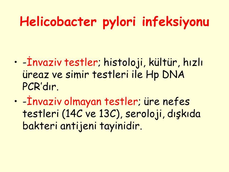 Helicobacter pylori infeksiyonu -İnvaziv testler; histoloji, kültür, hızlı üreaz ve simir testleri ile Hp DNA PCR'dır. -İnvaziv olmayan testler; üre n