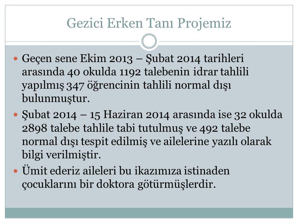 Gezici Erken Tanı Projemiz Geçen sene Ekim 2013 – Şubat 2014 tarihleri arasında 40 okulda 1192 talebenin idrar tahlili yapılmış 347 öğrencinin tahlili