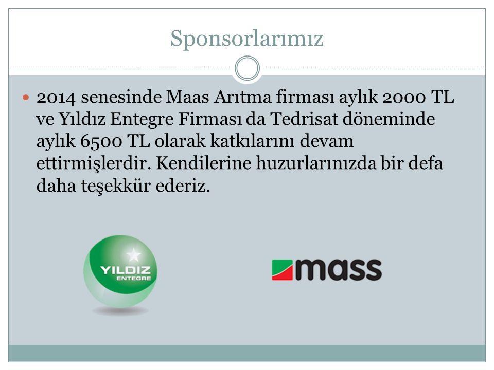 Sponsorlarımız 2014 senesinde Maas Arıtma firması aylık 2000 TL ve Yıldız Entegre Firması da Tedrisat döneminde aylık 6500 TL olarak katkılarını devam