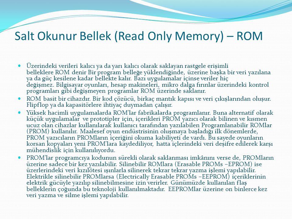 Salt Okunur Bellek (Read Only Memory) – ROM Üzerindeki verileri kalıcı ya da yarı kalıcı olarak saklayan rastgele erişimli belleklere ROM denir Bir pr
