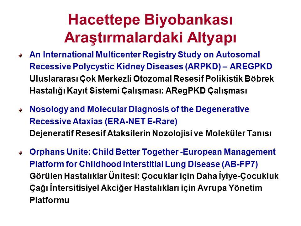 Hacettepe Biyobankası Araştırmalardaki Altyapı An International Multicenter Registry Study on Autosomal Recessive Polycystic Kidney Diseases (ARPKD) –