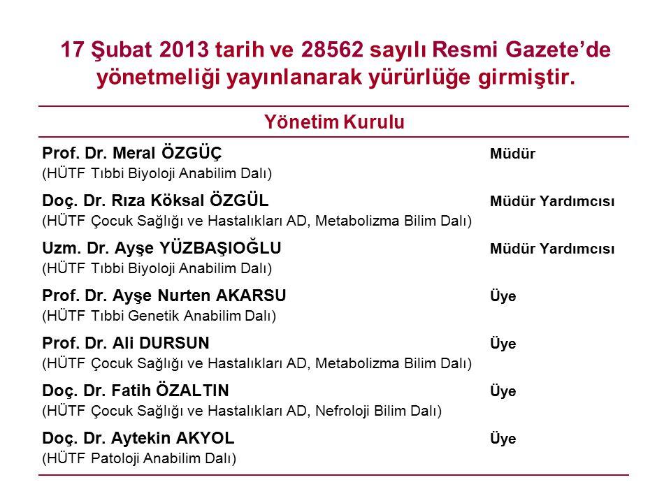 17 Şubat 2013 tarih ve 28562 sayılı Resmi Gazete'de yönetmeliği yayınlanarak yürürlüğe girmiştir. Yönetim Kurulu Prof. Dr. Meral ÖZGÜÇ Müdür (HÜTF Tıb