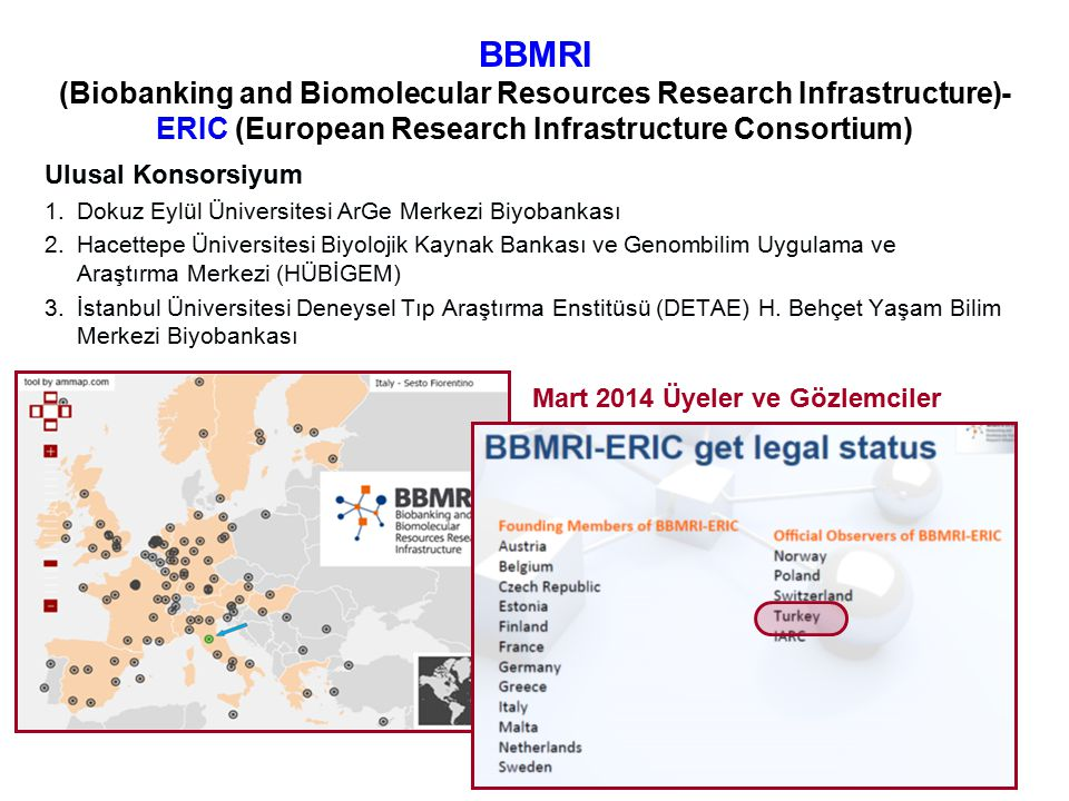 BBMRI (Biobanking and Biomolecular Resources Research Infrastructure)- ERIC (European Research Infrastructure Consortium) Ulusal Konsorsiyum 1.Dokuz E