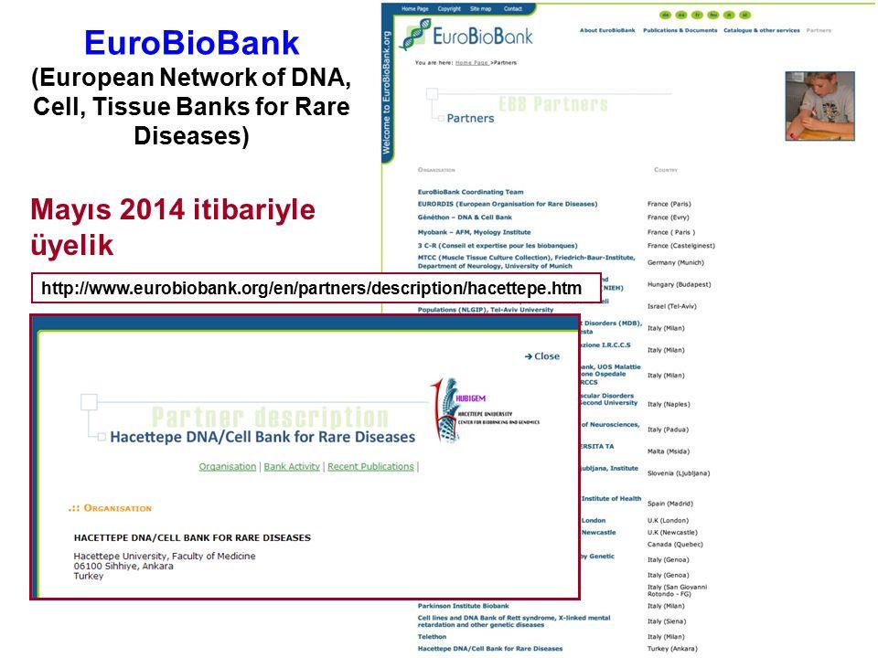 EuroBioBank (European Network of DNA, Cell, Tissue Banks for Rare Diseases) Mayıs 2014 itibariyle üyelik http://www.eurobiobank.org/en/partners/descri