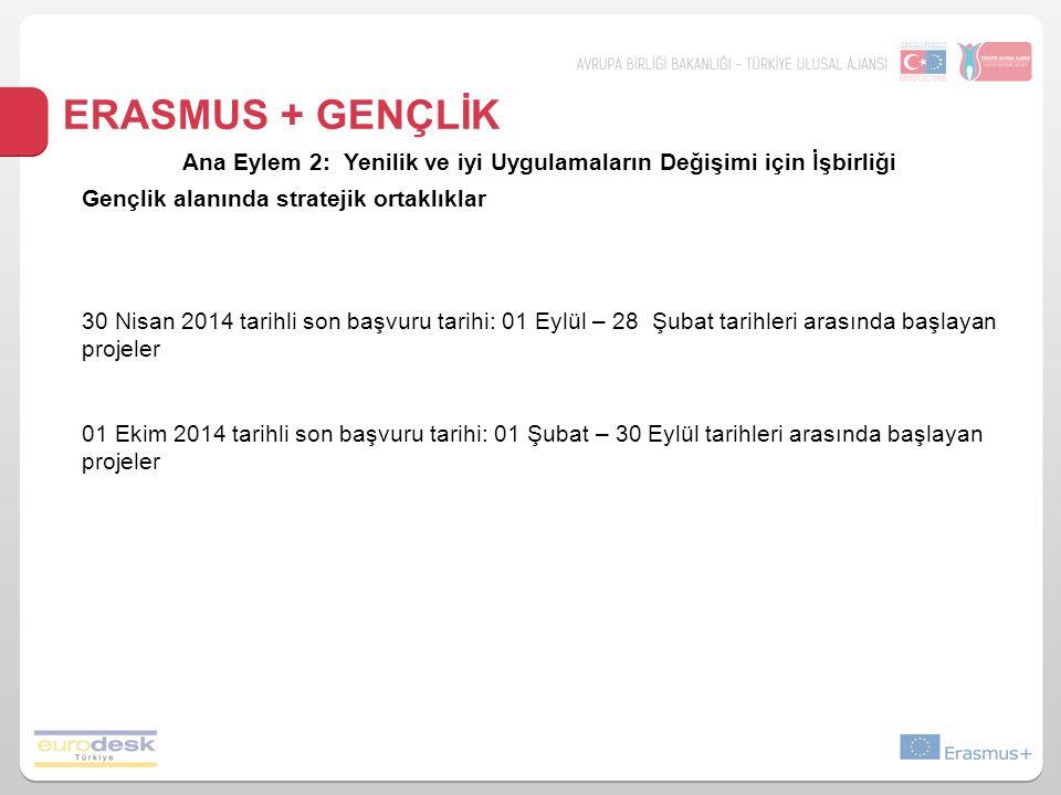 ERASMUS + GENÇLİK Ana Eylem 2: Yenilik ve iyi Uygulamaların Değişimi için İşbirliği Gençlik alanında stratejik ortaklıklar 30 Nisan 2014 tarihli son başvuru tarihi: 01 Eylül – 28 Şubat tarihleri arasında başlayan projeler 01 Ekim 2014 tarihli son başvuru tarihi: 01 Şubat – 30 Eylül tarihleri arasında başlayan projeler