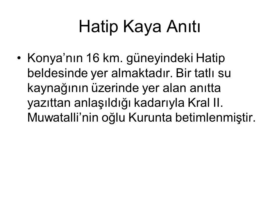 Hatip Kaya Anıtı Konya'nın 16 km.güneyindeki Hatip beldesinde yer almaktadır.