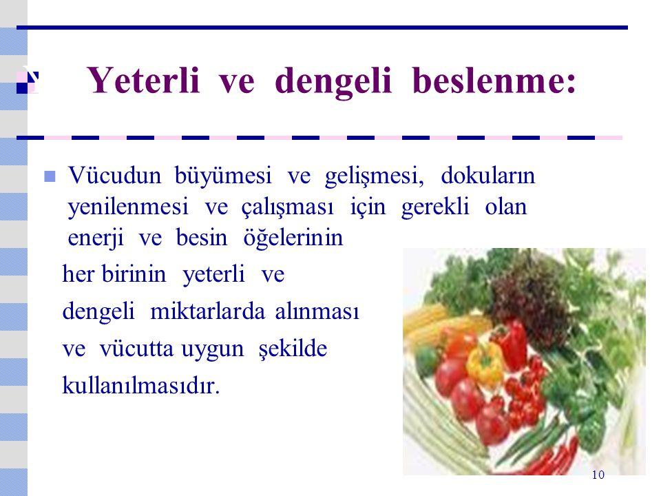 YE Yeterli ve dengeli beslenme: Vücudun büyümesi ve gelişmesi, dokuların yenilenmesi ve çalışması için gerekli olan enerji ve besin öğelerinin her bir