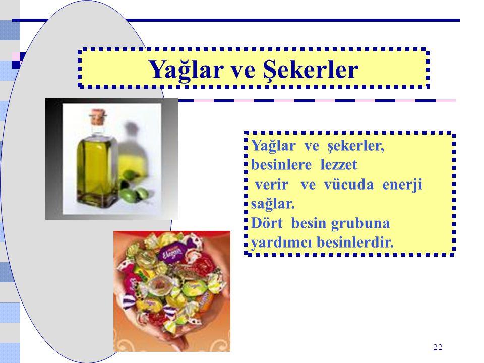Yağlar ve şekerler, besinlere lezzet verir ve vücuda enerji sağlar. Dört besin grubuna yardımcı besinlerdir. Yağlar ve Şekerler 22