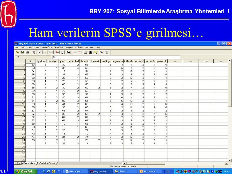 BBY 207: Sosyal Bilimlerde Araştırma Yöntemleri I Y.T. Ham verilerin SPSS'e girilmesi…